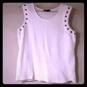 White Crinkled Tank with Metal Eyelets